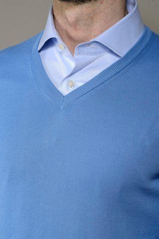 light blue sweater v-neck Angelico