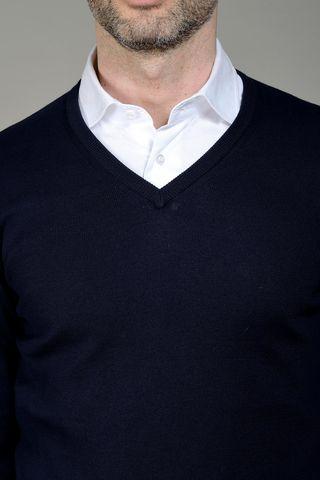 navy sweater v-neck Angelico