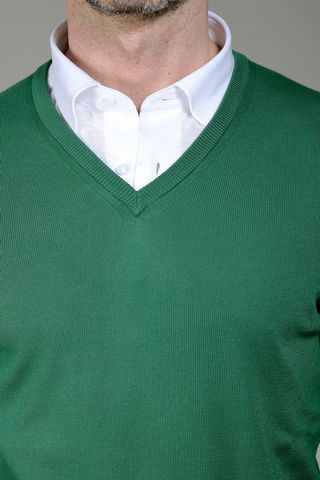 green sweater v-neck Angelico