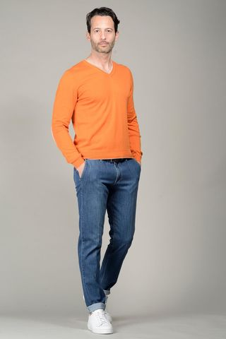 orange sweater v-neck with patches Angelico