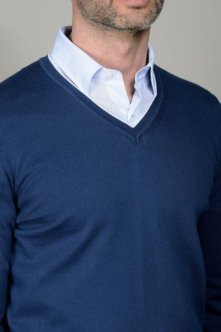 blue sweater v-neck with patches Angelico