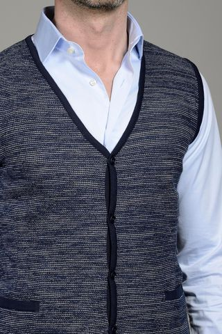 navy jersey waistcoat with buttons Angelico