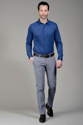 Polo blu piquet a camicia manica lunga Angelico