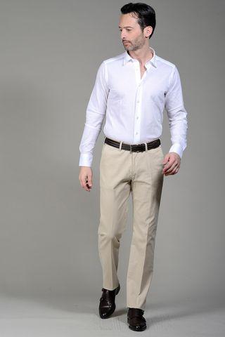 Polo bianca piquet a camicia manica lunga Angelico