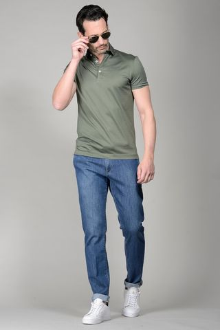 Army Grey polo lisle jersey Angelico