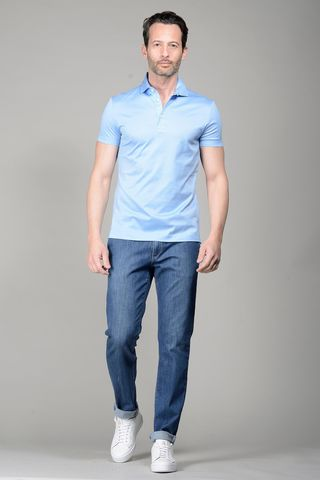 Light blue polo lisle jersey Angelico