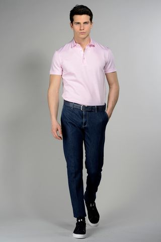 pink polo lisle jersey Angelico