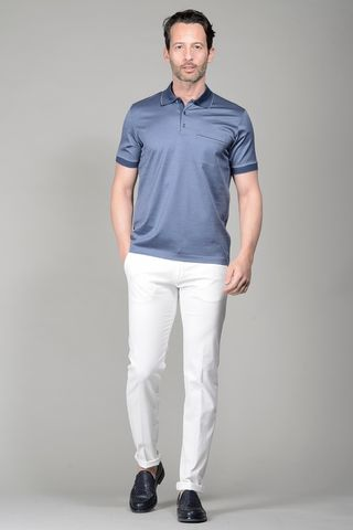 Grey lisle polo with pocket Angelico