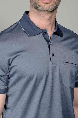 grey lisle polo with pocket Angelico