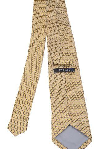 cravatta gialla pois sparsi blu Angelico