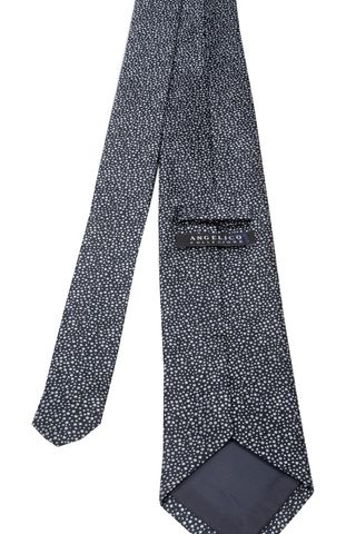 cravatta blu microcerchi grigi Angelico