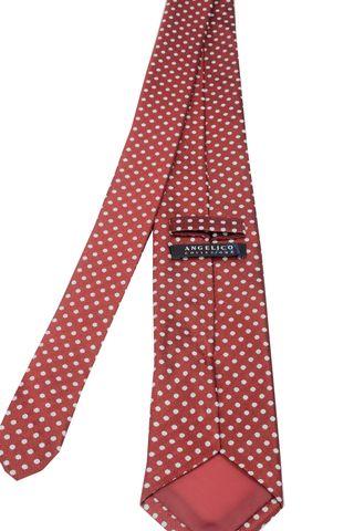 red tie medium grey polka dots Angelico
