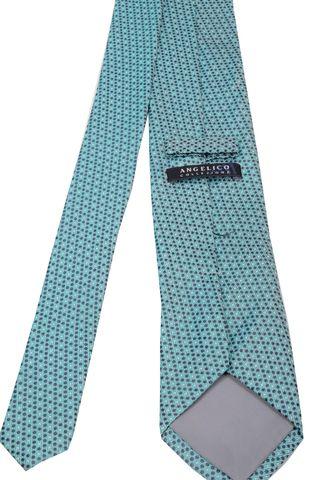 cravatta turchese pois blu-grigi Angelico