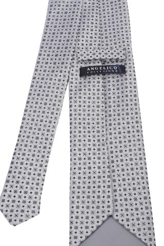 pearl grey tie micropattern blue Angelico