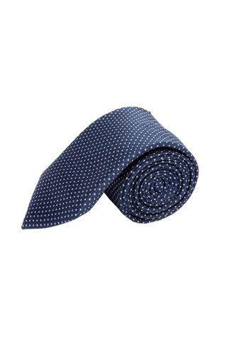 navy tie with silver polka dots Angelico