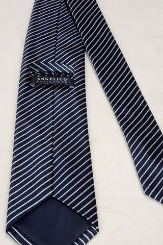 cravatta blu righe grigie sottili Angelico