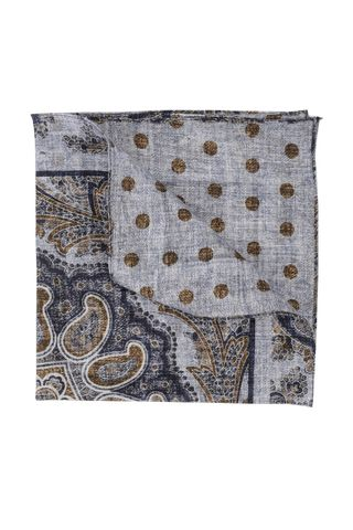 Azure linen pocket square double fancy