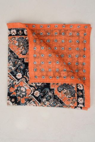 orange linen pocket square double fancy Angelico