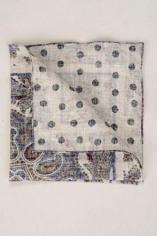 natural linen pocket square double fancy Angelico