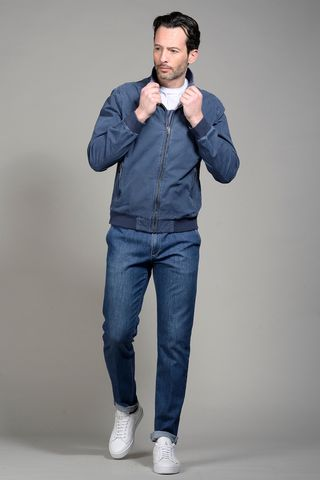 jeans blue cotton bomber jacket Angelico
