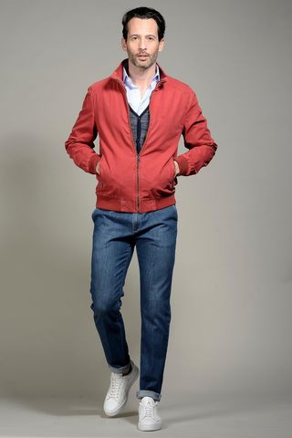 red cotton bomber jacket Angelico