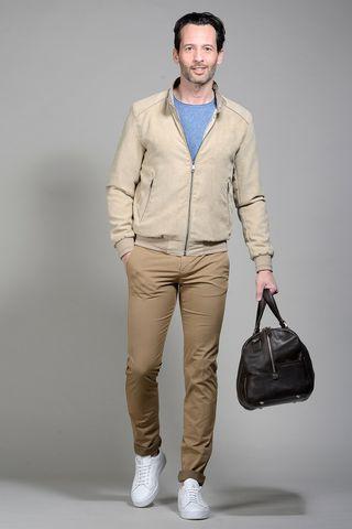beige alcantara bomber jacket Angelico