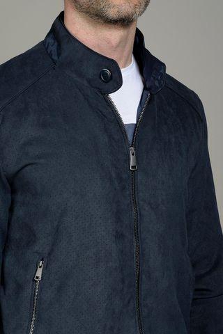blue alcantara bomber jacket Angelico