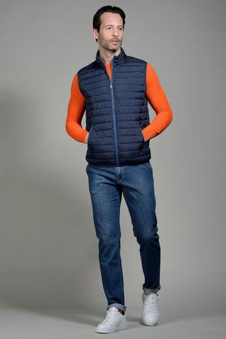 eco down blue waistcoat Angelico