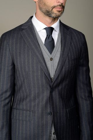 blue suit grey stripes slim Angelico