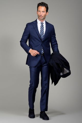 blue suit check galles slim long Angelico