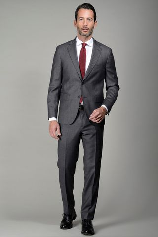 grey suit birds-eye 100s comfort fit Angelico