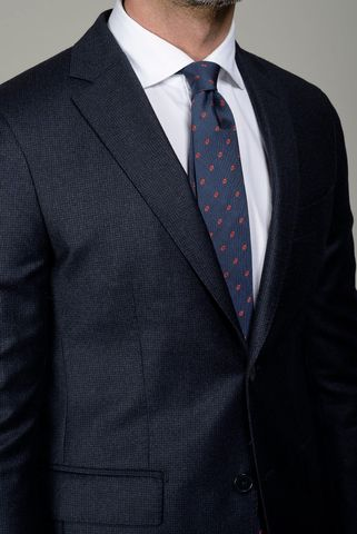 navy suit pie-de-poule slim long. Angelico