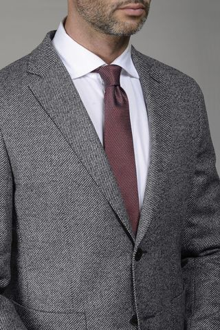 grey wool jacket diagonally pattern Angelico
