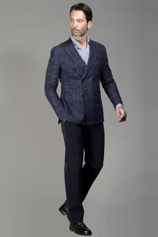 Blue double-breasted jacket Wales slim Angelico