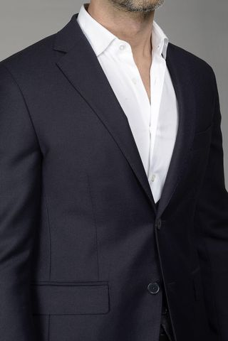 giacca blu comoda lana tasmania Angelico