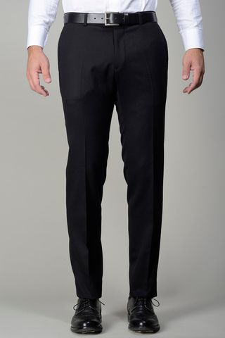 black stretch flannel trousers slim Angelico
