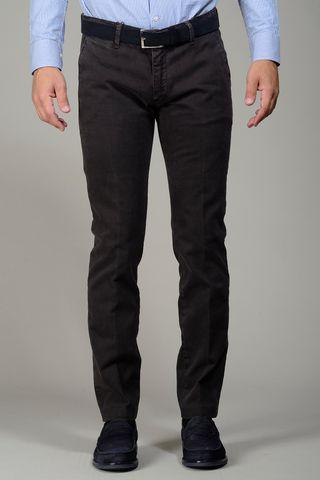 pantalone marrone gabardina stretch slim Angelico