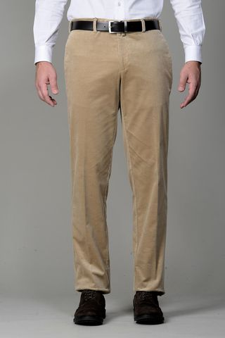 beige stretch corduroy trousers Angelico
