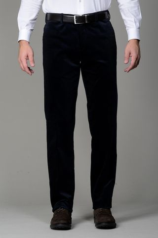 navy stretch corduroy trousers Angelico