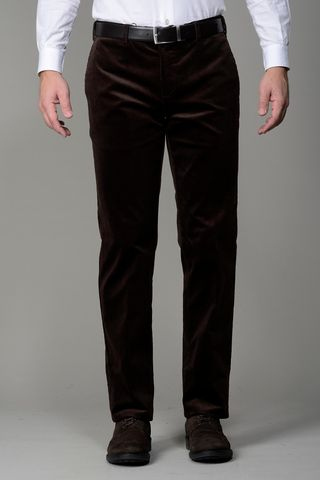 brown stretch corduroy trousers Angelico
