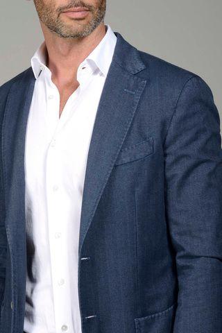 giacca blu cotone resca slim Angelico