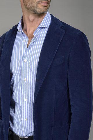 giacca velluto blu slim Angelico