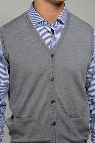 grey vest cardigan merinos pockets Angelico