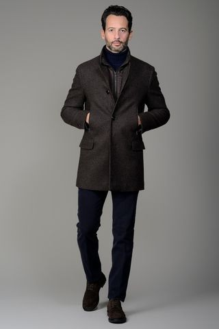 Cappotto marrone microquadretto coreano Angelico