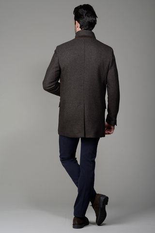 cappotto marrone microquadretto coreano Angelico