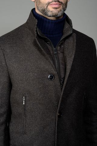 brown korean coat checkered Angelico