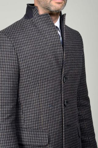 brown-blue checkered wool coat Angelico