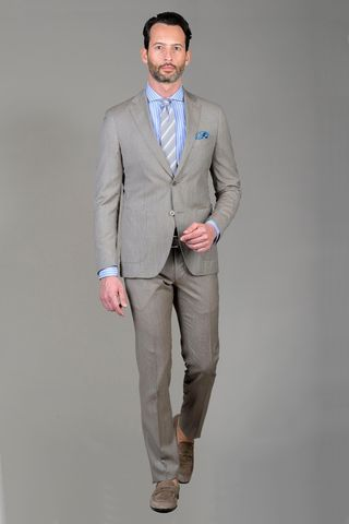 light brown suit 100s slim. Angelico