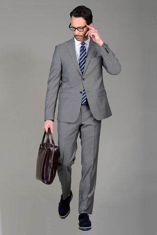 Grey suit birdseye Angelico