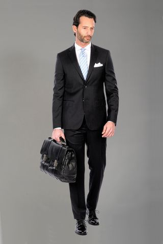 charcoal suit super100s Angelico